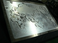 World Map, Aluminum Process, Aluminum Plate, Drilled Using 3D/CAD-CAM, Complicated Shapes.