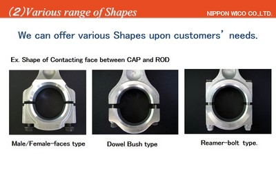 Various Shapes of the contacting faces between Cap & Rod of Connecting Rods